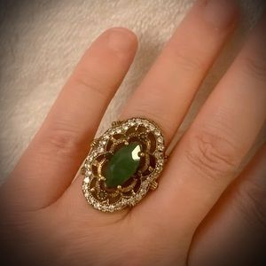 ART DECO EMERALD RING Size 8 Solid 925 Silver/Gold
